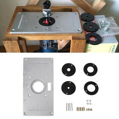 Router Table Insert Plate w/ 4 Rings Screws Aluminum For Woodworking Benches