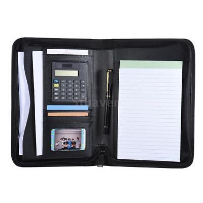 A5 Conference Folder Zipped Folio Case PU Leather Business Portfolio H4T0