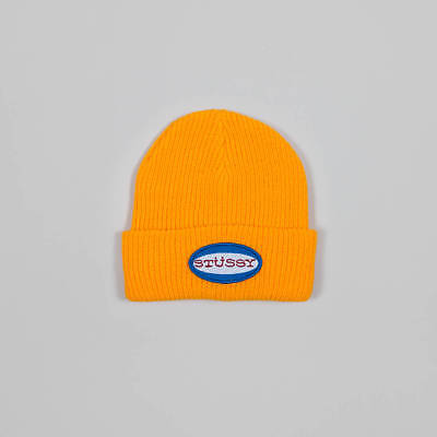 9656efddc04 NEW STUSSY OVAL Patch Logo Beanie Hat Yellow Gold - £19.99