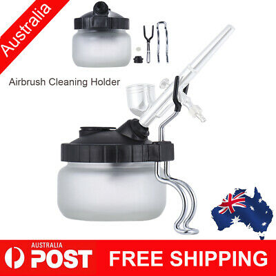 Airbrush Cleaner Air Brush Cleaning Pot Stand Glass Bottle Holder Jar 304ml AU