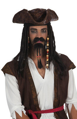 Pirate Moustache And Beaded Beard Set Jack Sparrow Style