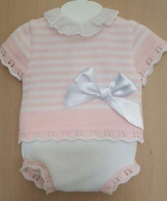 Spanish Style Baby Girl Pink 2 Piece Knitted Jam Pants and Top Set / Outfit.