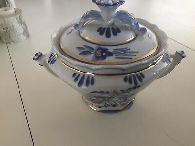 Russian pottery bowl with lid gzhel freab