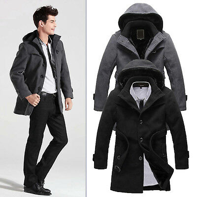 Mens Trench Coat Warm Lined Hooded Casual Winter Jacket Parka Overcoat Outerwear