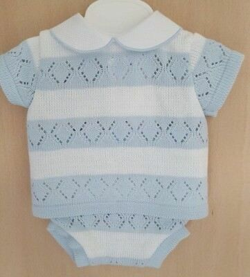 Spanish Style Baby Boy Blue  2 Piece Knitted Jam Pants and Top Set / Outfit.