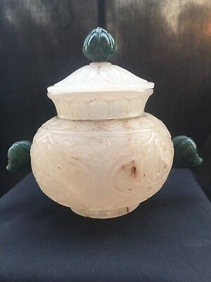 Antique HAND carved islamic Mughal Quartz / jade pot of 19th century