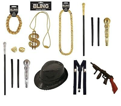GANGSTER RAPPER FANCY DRESS COSTUME ACCESSORY Halloween party Bling Sequin Cane