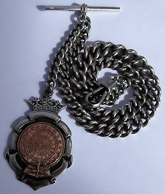 Good antique solid sterling silver pocket watch albert chain & silver & gold fob
