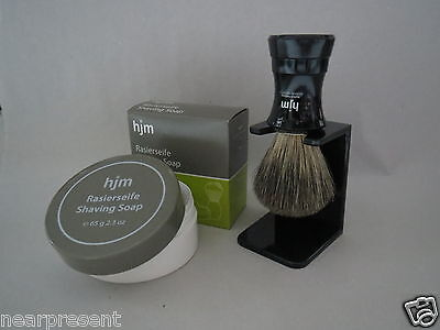 Shaving brush SET Badger hair HJM Model 81P7S+Holder Plastic Handle schwr +