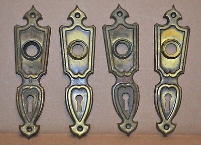 4 Brass Antique Finish Vintage Art Deco Skeleton Key Door Plates Escutcheons