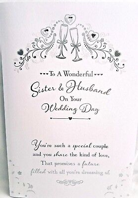 Wedding Day Sister Husband Card Silver Hearts Design Quality Verse