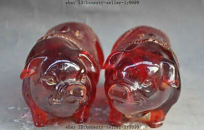 """9"""" chinese Lifelike Artificial amber wealth lucky pig Swine Porcine statue pair"""