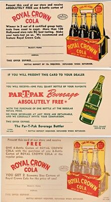 (3) 1940's Royal Crown Rc Cola Par-T-Pak Soda 6 Pack Advertising Postcards