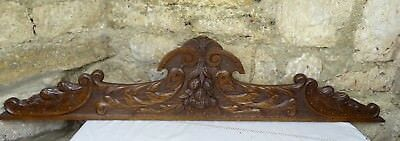 "47""  Antique French Hand Carved Pediment Architectural Crown Oak Wood Crest"