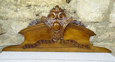 "33""  Antique French Hand Carved Pediment/ Crest in Solid Walnut Wood Crown"