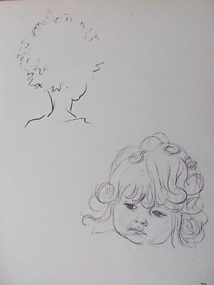 VINTAGE 1930's PENCIL SKETCH ART PRINT J.H. DOWD - PRETTY BABY GIRL