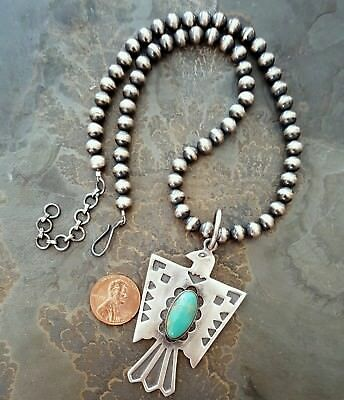 Navajo Pearls Handmade Sterling Silver Turquoise Thunderbird Pendant Necklace