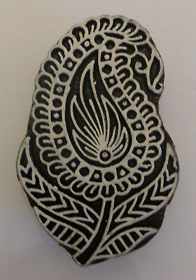 Paisley Shaped 7.7cm Indian Hand Carved Wooden Printing Block (PA7)