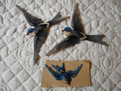 Applications anciennes velours 3 hirondelles fin XIX mercerie victorian swallows