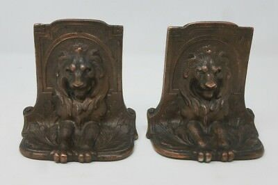Vintage Antique Solid Bronze Metal Old Beautiful Lion Bookends 1920 Signed