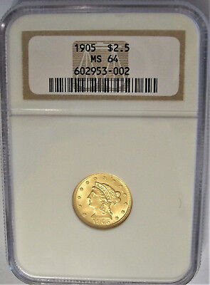 Lot of One, NGC, MS64,1905, Two-and-a-Half (2 1/2) Dollar, Gold Quarter Eagle