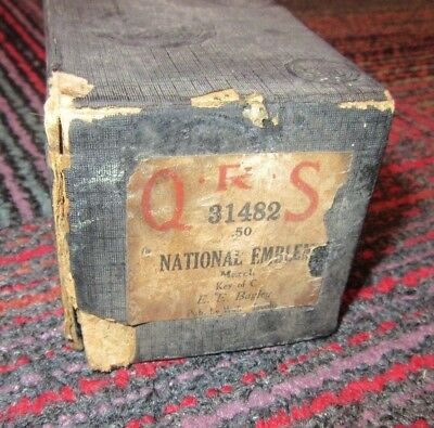 """Vintage Qrs """"national Emblem"""" March Player Piano Roll 31482, Antique In Box, Guc"""