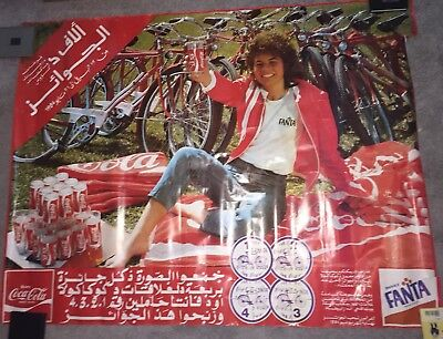 Vintage 1984 Coca Cola Advertising Poster International Arabic Bicycle Fanta Old