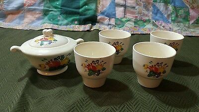 Vintage Edwin Knowles Lidded Sugar Dish & 4 Matching Coffee Tea Cups Set Lot
