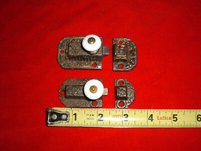 Antique Two Porcelain Knob Ornate Cupboard Latches Cabinet Latch Nice Patina