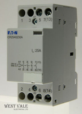 Eaton CR2540230A - 25a Four Pole Normally Open Contactor with 230V Coil Un-used