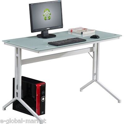Glass Computer Desk Office Table PC Furniture Workstation Laptop Keyboard WHITE