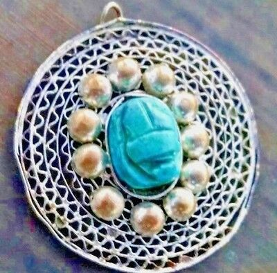 Antique Egyptian Revival Clay Carved Cab Stone Scarab Faience Web Pendant