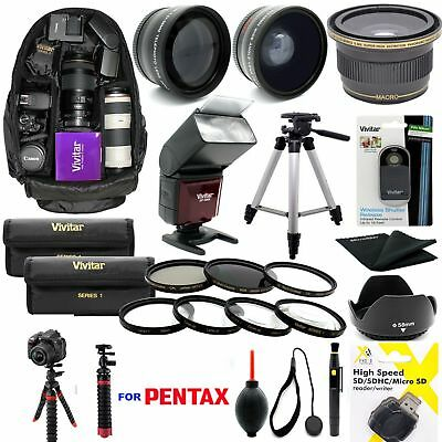 Pentax K-1 Mark II W 28-105 LENS COMPLETE 62MM HD ACCESSORY KIT FLASH LENSES