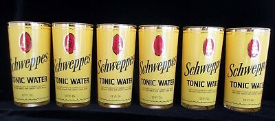 "(6) Schweppes Tonic Highball Glasses w/Gold Trim, 5-5/8"" rare collectable"