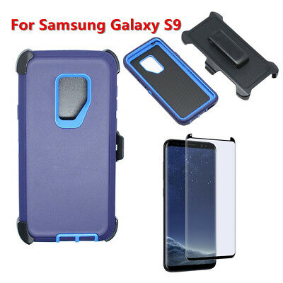 For Samsung Galaxy S9 w/Screen & Clip fit Otterbox Defender Case Navy