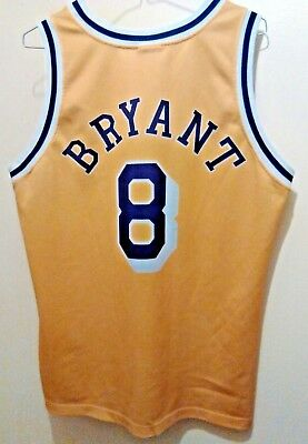 b74f1337e39 Champion Europe Los Angeles Lakers Kobe Bryant  8 NBA Gold rookie jersey M  44 EU