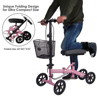 Clevr Medical Steerable Knee Walker Aid Scooter Crutch Roller Alternative Pink