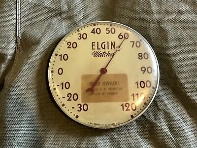 """Original Elgin Watches Thermometer 12"""" Advertising Sign Vintage Nice"""