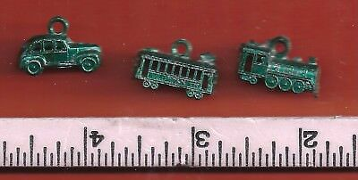 1940's Cracker Jack Metal Charms .. Lot 1 .. a Train, Trolly and car (Green)