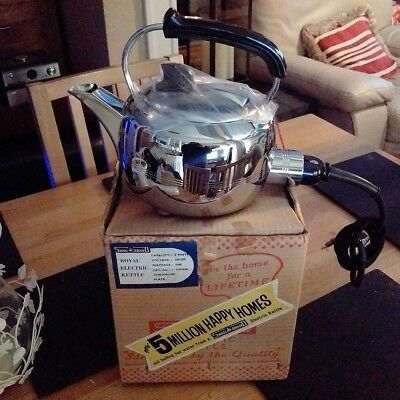 new in box VINTAGE RETRO SWAN ROYAL CHROME PLATED ELECTRIC KETTLE