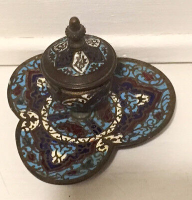 ANTIQUE FRENCH CLOISONNÉ ENAMEL AND BRASS INKWELL 19th Century