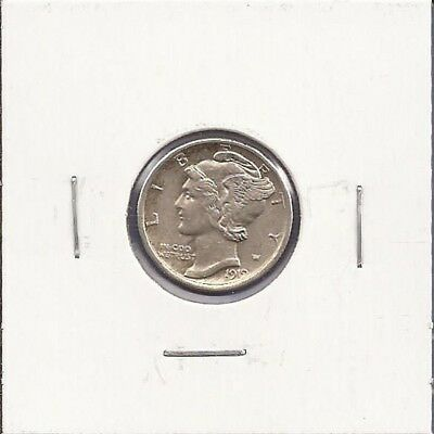 1919-D Mercury Dime,10¢ Silver,about uncirculated condition,Nice! CP167