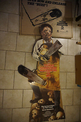 Texas Chainsaw Massacre 2 movie promo standee standup  Mint NOS vtg 1986