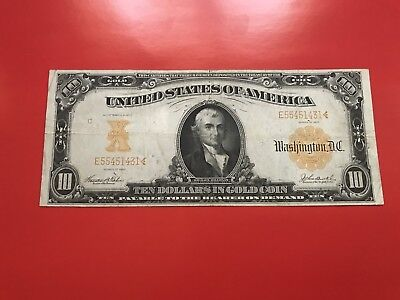 1907 $10.00 Bill Gold Certificate Large Size Vf/ Rear Sharp Note.