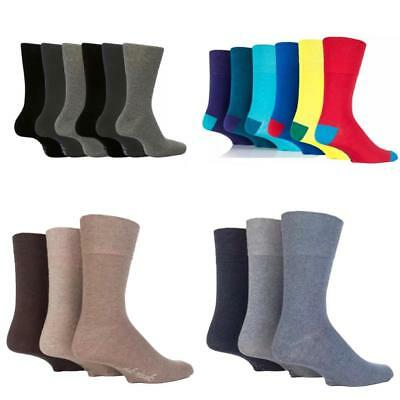 Mens Gentle Grip Socks Non Elastic Soft Top Diabetic Fashion 3,6 and12 pairs
