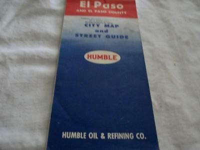 Vintage 1958 Humble Oil Oil  Map Of El Paso.