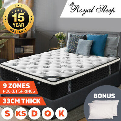 Queen Double King Single Mattress Bed Euro Top 9 Zone Pocket Spring Latex Memory