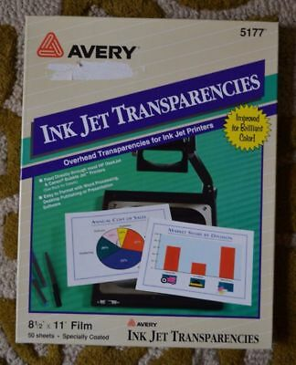 Avery Ink Jet Transparency 5177 - Printable Transparency- Projector/Crafts NIB