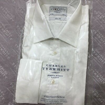"Mens White Shirt CHARLES TYRWHITT 16.5"" 42cm Double Cuff Slim Fit Cotton Shirt"