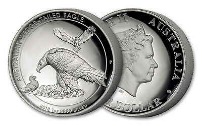 2018 Australia $1 1oz Silver Wedge-Tailed Eagle High Relief Proof by J.Mercanti